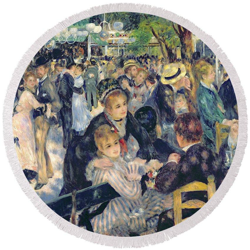 Renoir Round Beach Towel featuring the painting Ball At The Moulin De La Galette by Pierre Auguste Renoir
