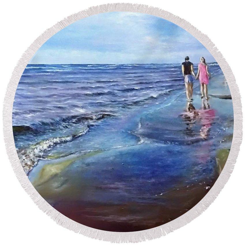 Sea Round Beach Towel featuring the painting Baltic beach by Natalja Picugina