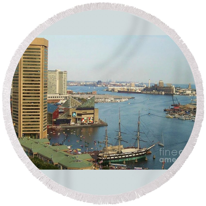 Baltimore Round Beach Towel featuring the photograph Baltimore by Debbi Granruth