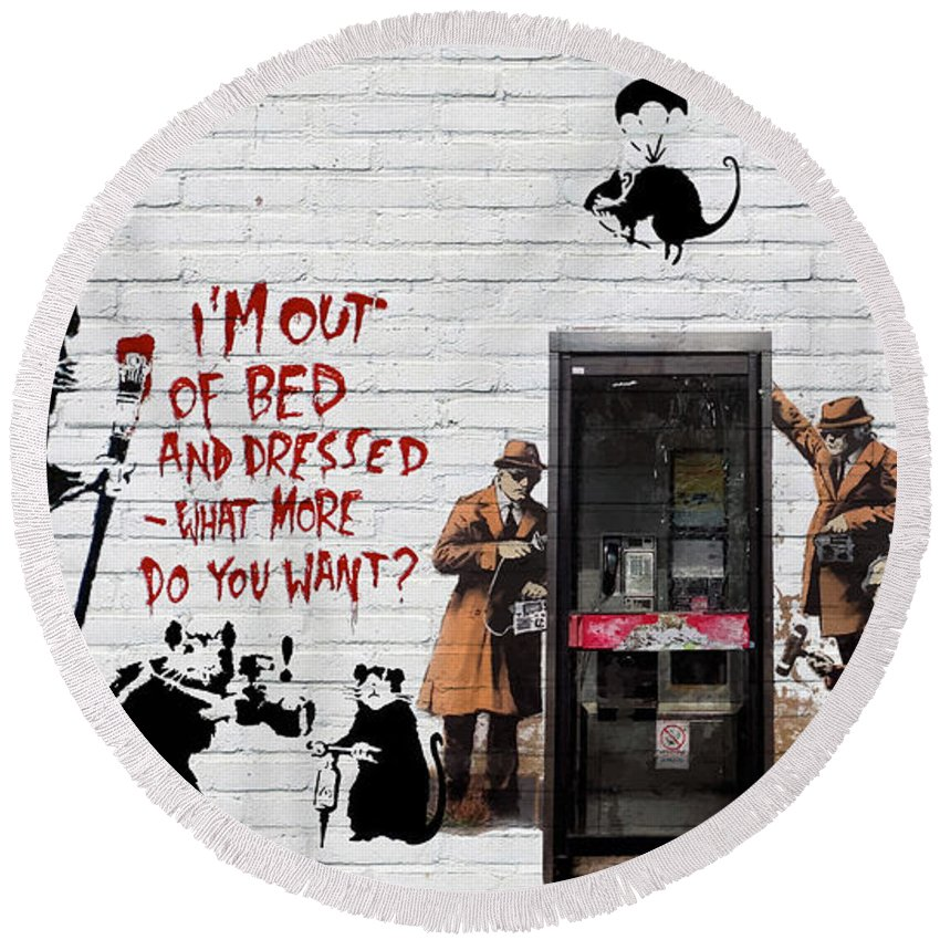 �urban Graffiti� Collection By Serge Averbukh Round Beach Towel featuring the photograph Banksy - The Tribute - Rats by Serge Averbukh