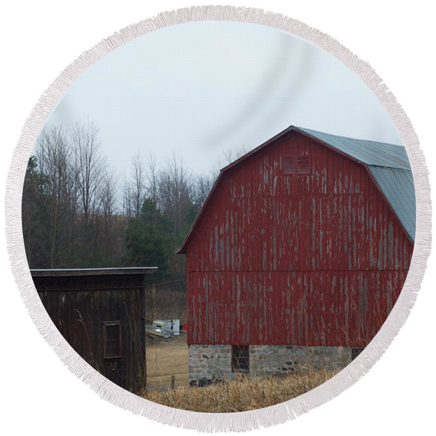 Red Round Beach Towel featuring the photograph Barn And Shed by Linda Kerkau