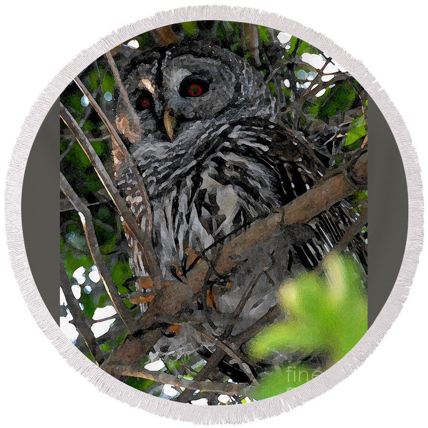 Barred Owl Round Beach Towel featuring the painting Barred Owl by David Lee Thompson