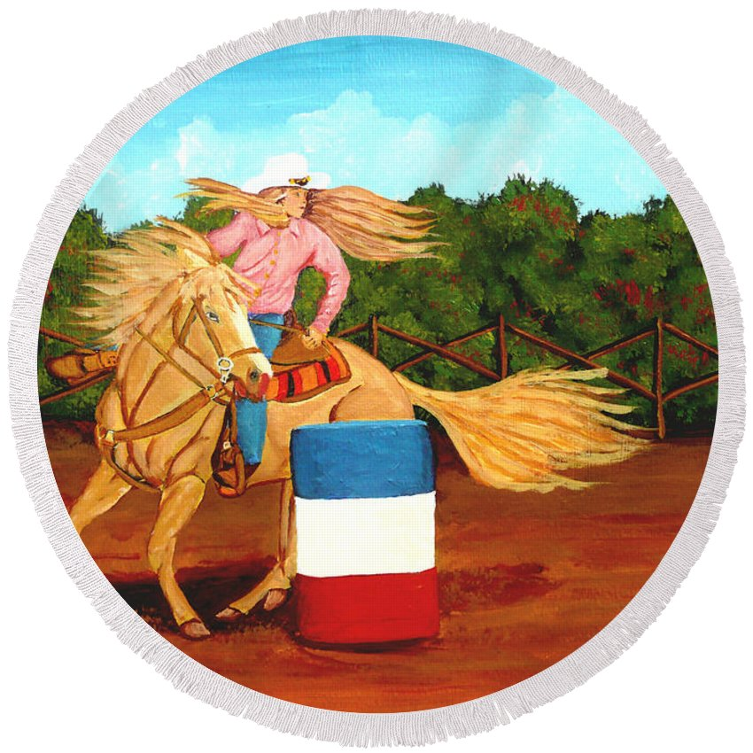 Rodeo Round Beach Towel featuring the painting Barrel Racer by Anthony Dunphy