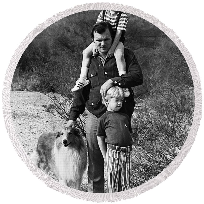 Barry Sadler With Sons Family Collie Tucson Arizona 1971 Round Beach Towel featuring the photograph Barry Sadler With Sons And Family Collie Tucson Arizona 1971 by David Lee Guss