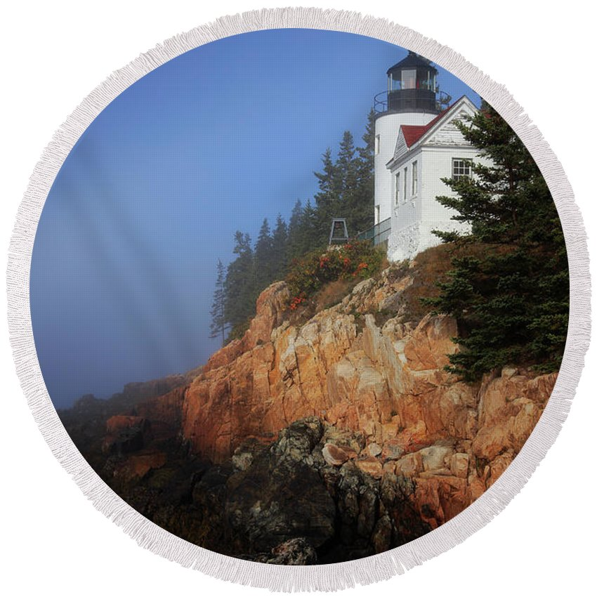 Park Round Beach Towel featuring the photograph Bass Harbor Lighthouse, Acadia National Park by Kevin Shields