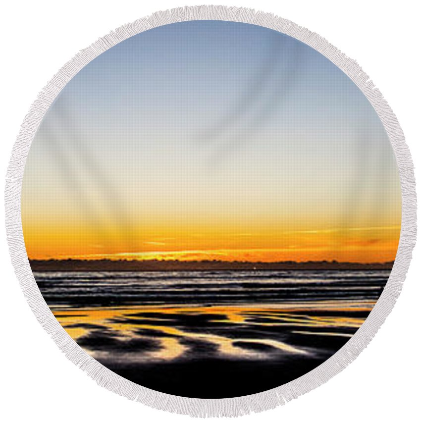 Round Beach Towel featuring the photograph Bastendorff Beach Oliver by Angus Hooper Iii