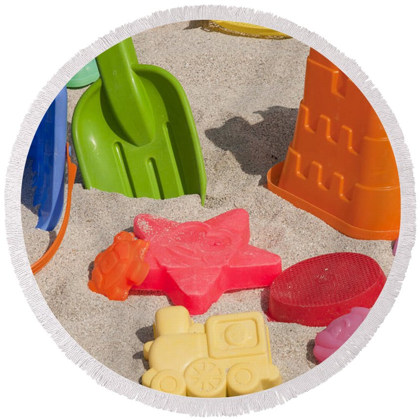 Beach Round Beach Towel featuring the photograph Beach Toys by Anthony Totah