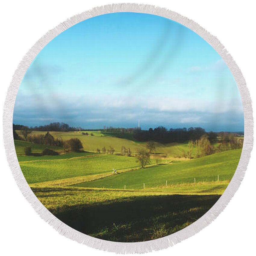 Bavaria Round Beach Towel featuring the photograph Beautiful Rural Bavaria by Pixabay