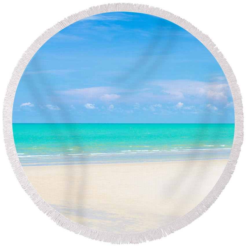 Beach Round Beach Towel featuring the photograph Beautiful Sea Sand And Sky In Pranburi Thailand by Jirawat Cheepsumol