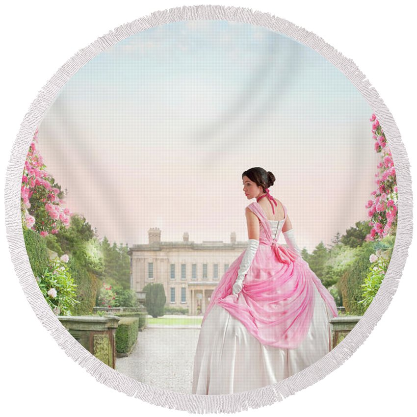 Victorian Round Beach Towel featuring the photograph Beautiful Victorian Woman In The Garden by Lee Avison