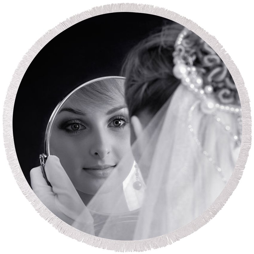 Bride Round Beach Towel featuring the photograph Beautiful Woman In Bridal Veil Looking At A Mirror by Maxim Images Prints