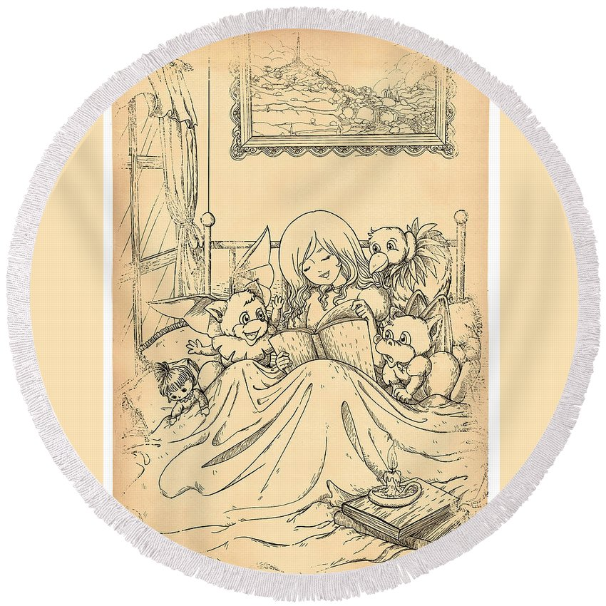 1860 Round Beach Towel featuring the painting Bedtime For All by Reynold Jay