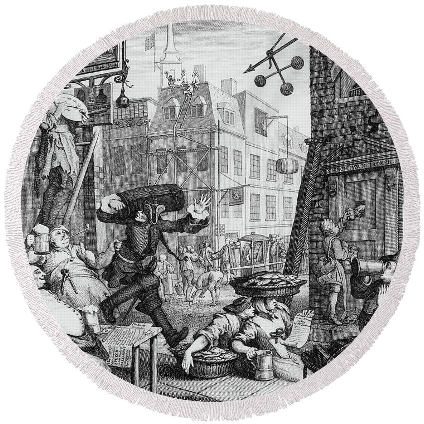 Satire Round Beach Towel featuring the drawing  Beer Street by William Hogarth