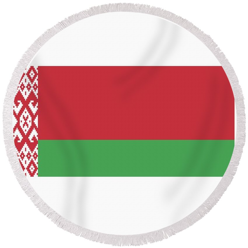Banner Round Beach Towel featuring the digital art Belarus Flag by Frederick Holiday
