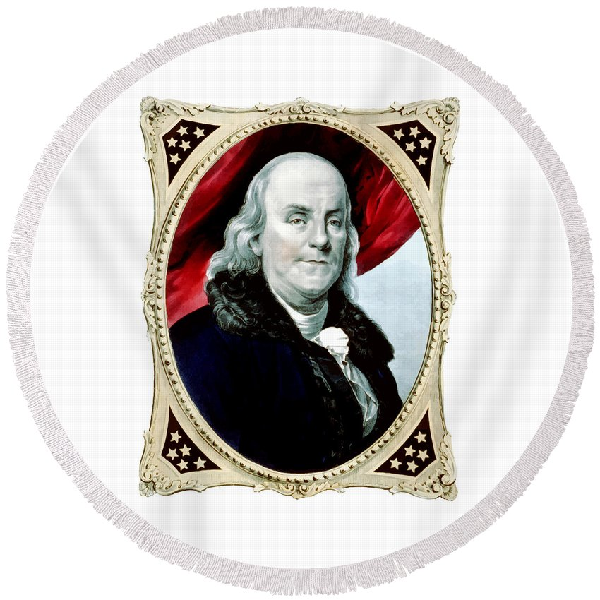 Benjamin Franklin Round Beach Towel featuring the painting Ben Franklin - Two by War Is Hell Store