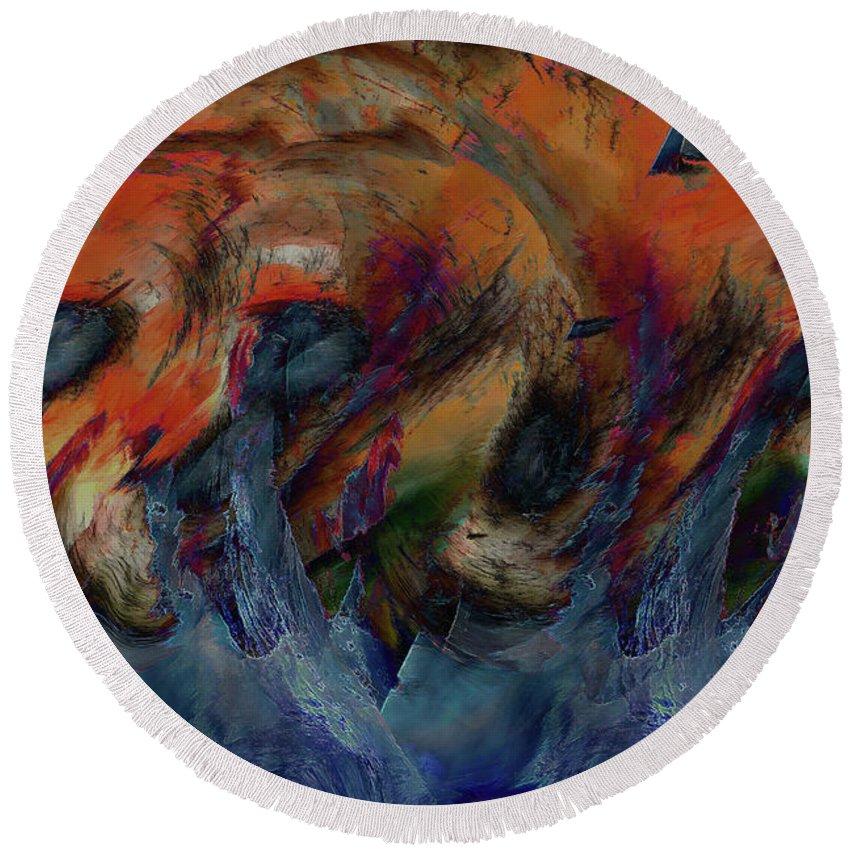 Wave Art Round Beach Towel featuring the digital art Beneath The Waves by Linda Sannuti