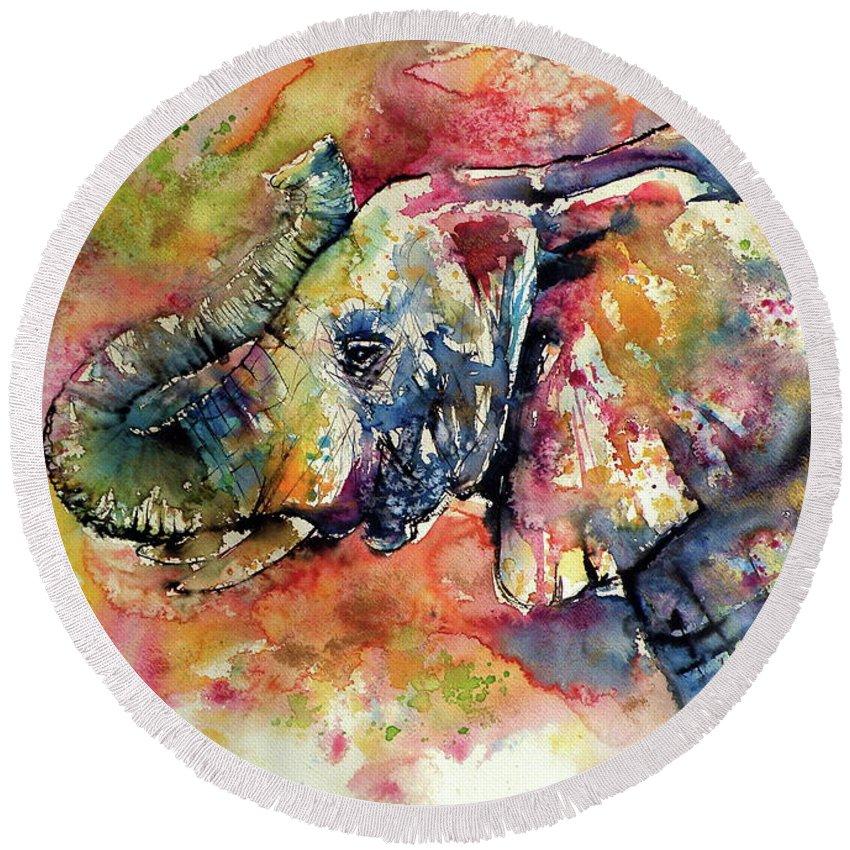 Elephant Round Beach Towel featuring the painting Big colorful elephant by Kovacs Anna Brigitta