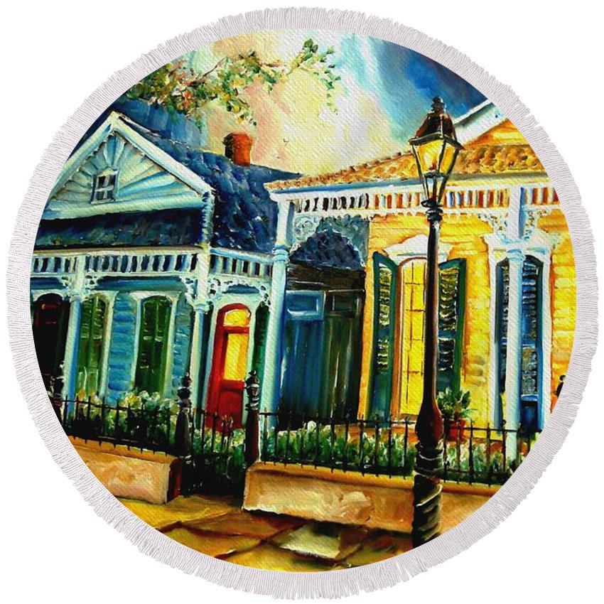 New Orleans Round Beach Towel featuring the painting Big Easy Neighborhood by Diane Millsap