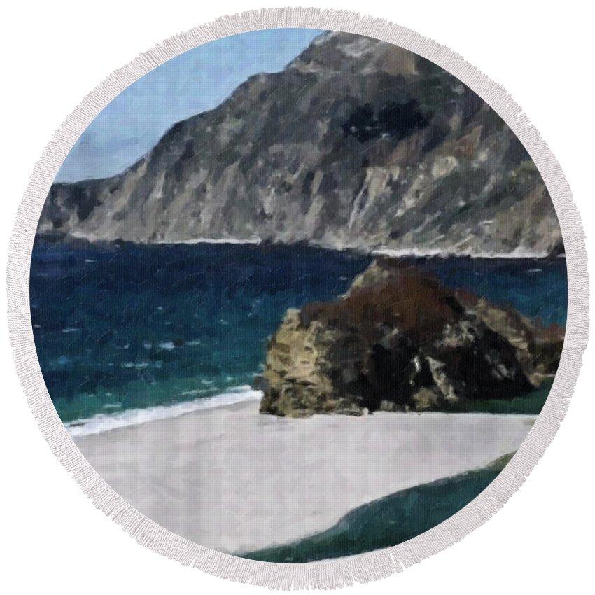 Big Round Beach Towel featuring the digital art Big Sur California by Teresa Mucha