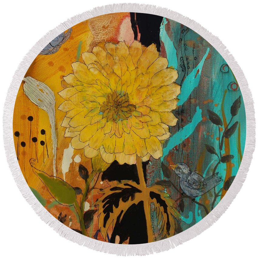 Big Yella Round Beach Towel featuring the painting Big Yella by Robin Maria Pedrero