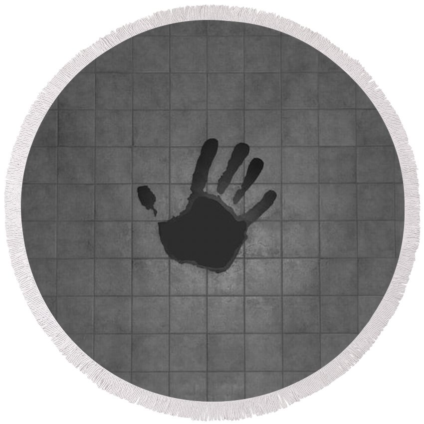 Hand Print Round Beach Towel featuring the photograph Black Hand by Rob Hans