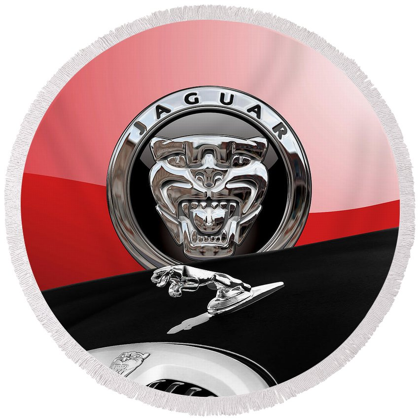 'auto Badges' Collection By Serge Averbukh Round Beach Towel featuring the photograph Black Jaguar - Hood Ornaments And 3 D Badge On Red by Serge Averbukh