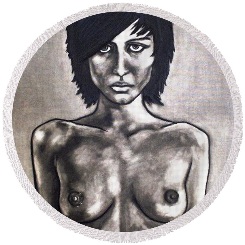 Nude Round Beach Towel featuring the painting Black by Thomas Valentine