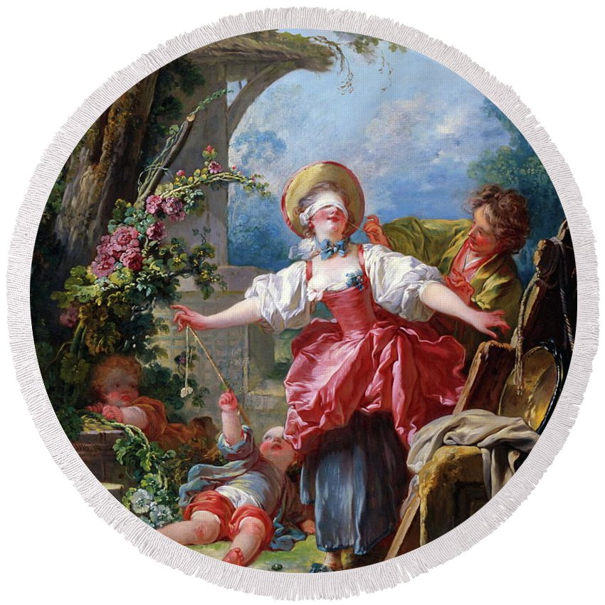 Jean-honore Fragonard Round Beach Towel featuring the painting Blind-man's Buff by Jean-Honore Fragonard