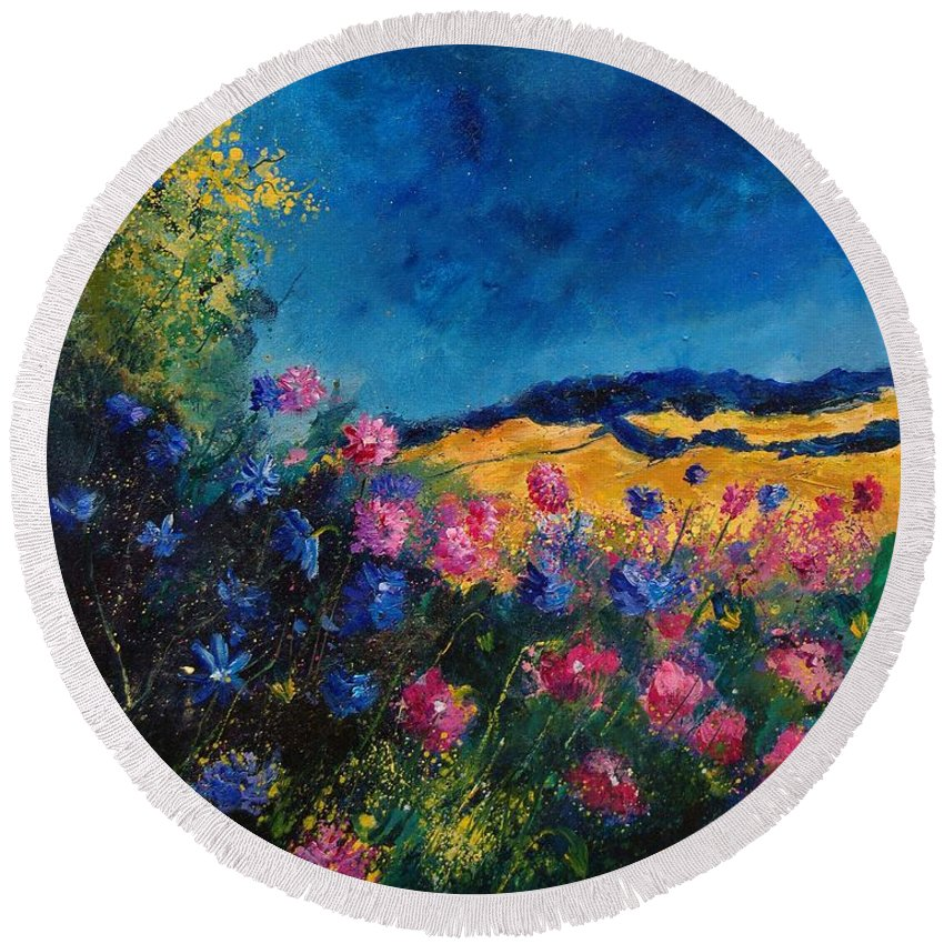 Flowers Round Beach Towel featuring the painting Blue And Pink Flowers by Pol Ledent