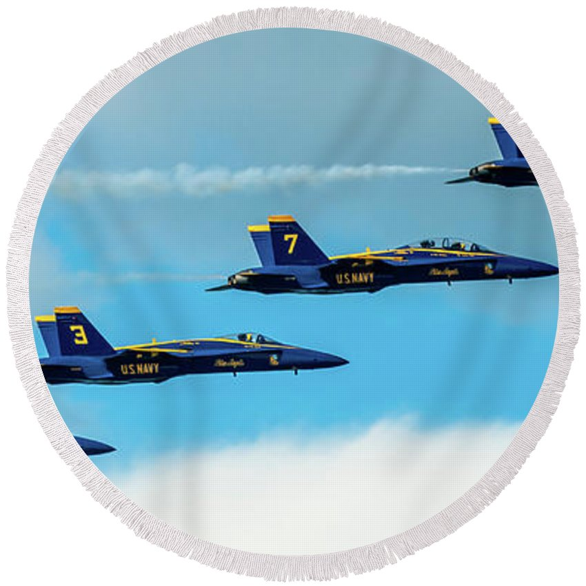 Aircraft Round Beach Towel featuring the pyrography Blue Angels Formation by Javier Flores