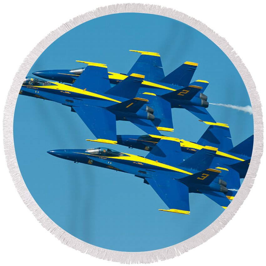 Us Navy Round Beach Towel featuring the photograph Blue Angels by Sebastian Musial