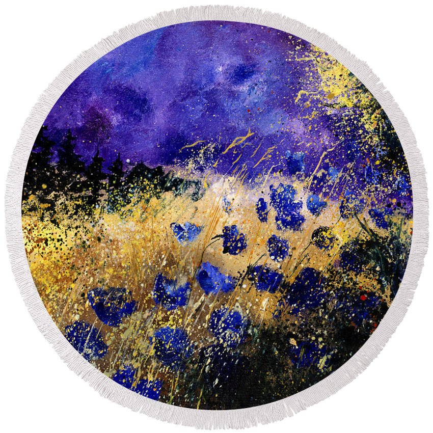 Poppies Round Beach Towel featuring the painting Blue Cornflowers by Pol Ledent