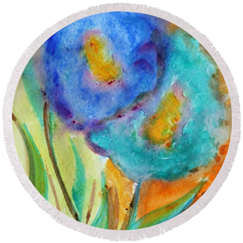 Flowers Round Beach Towel featuring the painting Blue Flowers by Luiza Vizoli