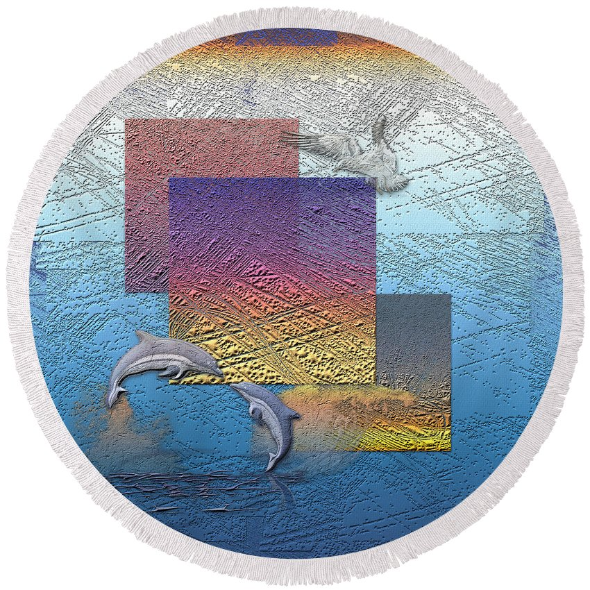 �from Dusk Till Dawn� Collection By Serge Averbukh Round Beach Towel featuring the photograph Blue Lagoon Sunrise by Serge Averbukh