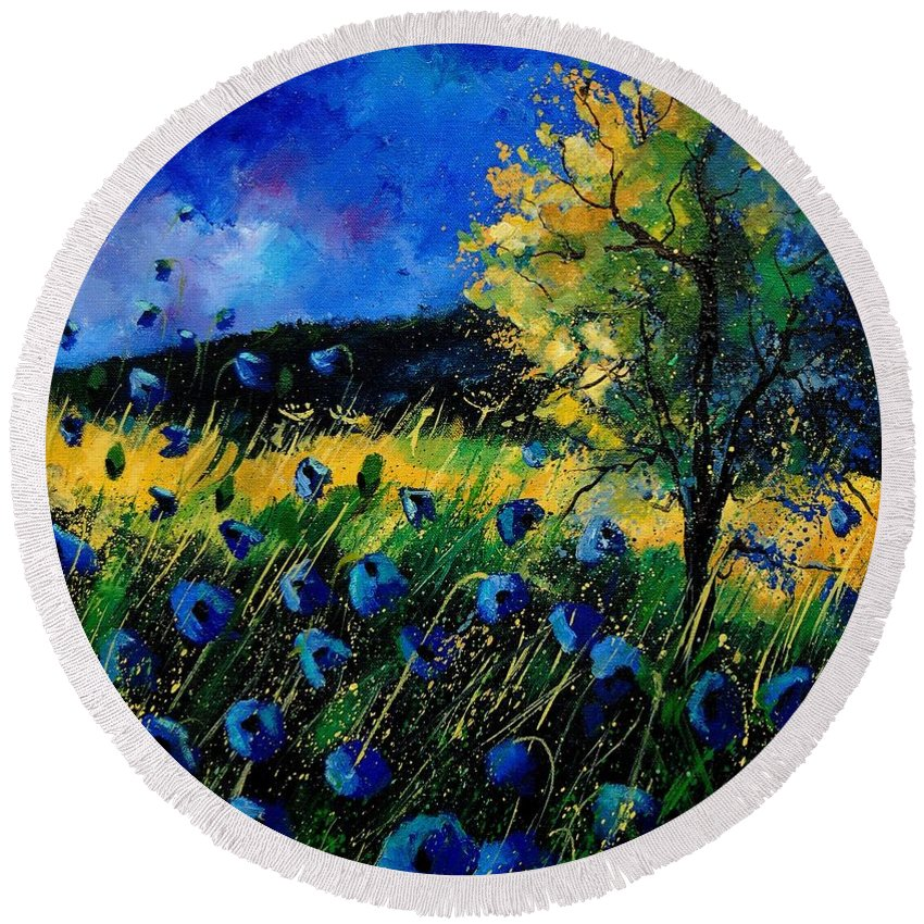 Poppies Round Beach Towel featuring the painting Blue Poppies by Pol Ledent