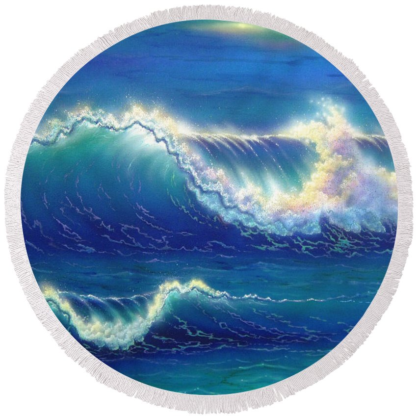 Blue Round Beach Towel featuring the painting Blue Thunder by Angie Hamlin