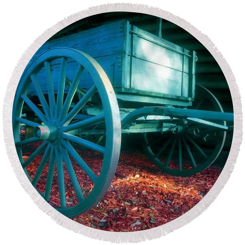 Blue Round Beach Towel featuring the photograph Blue Wagon by David Lee Thompson