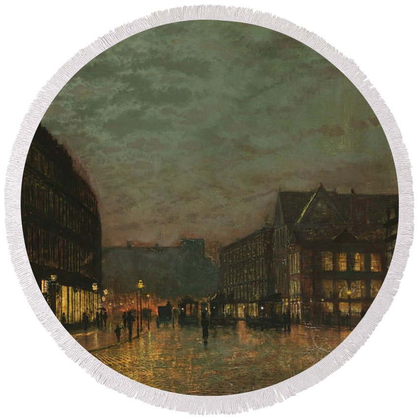 Grimshaw Round Beach Towel featuring the painting Boar Lane Leeds By Lamplight by John Atkinson Grimshaw