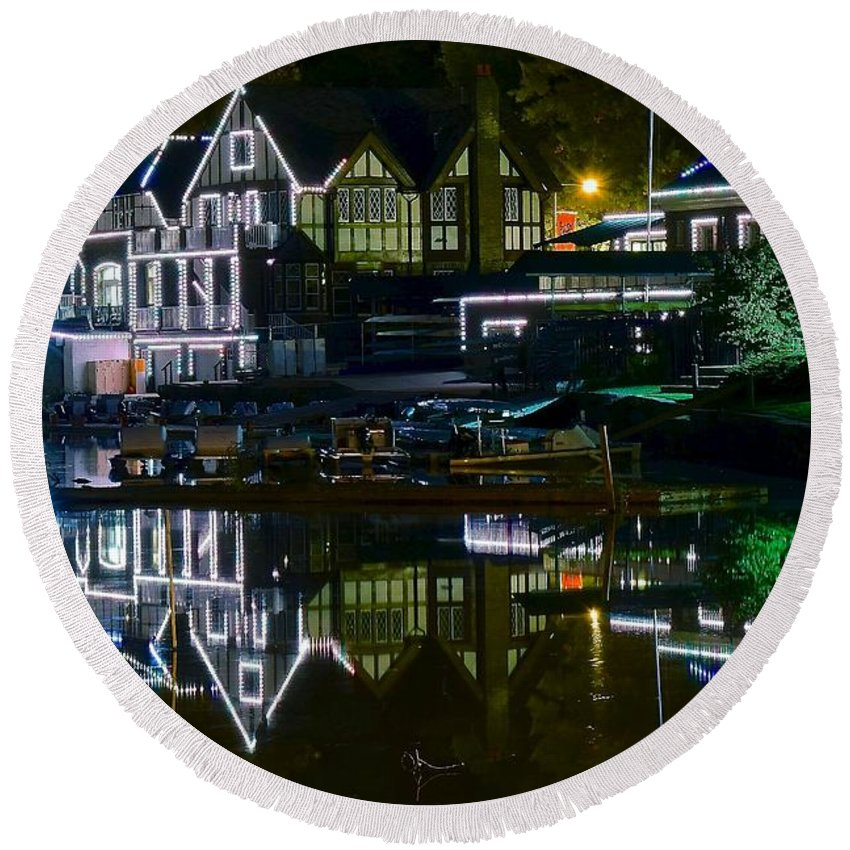 Boathouse Round Beach Towel featuring the photograph Boathouse Row II by Frozen in Time Fine Art Photography