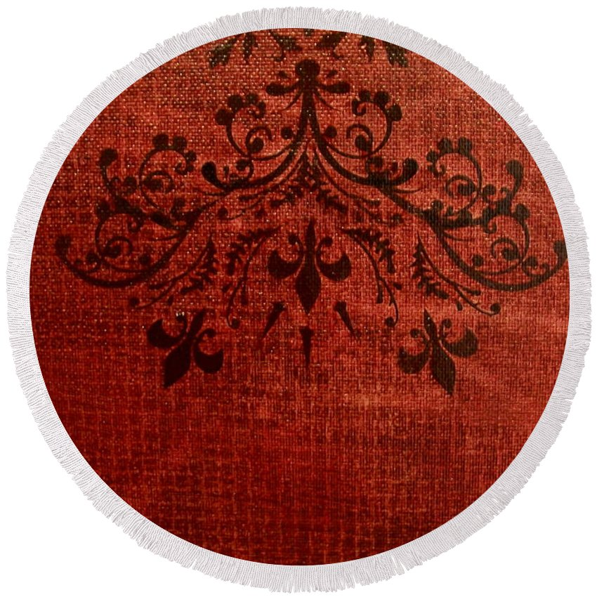 Red Round Beach Towel featuring the painting Boudoir Two by Laurette Escobar