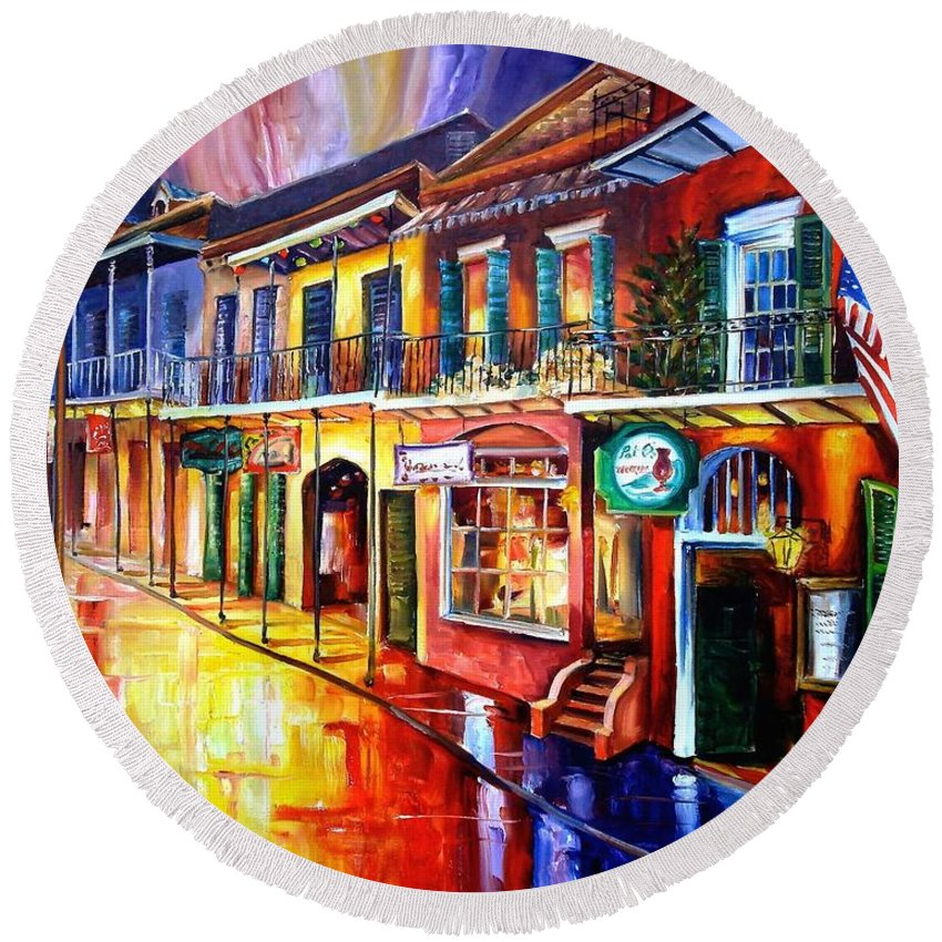 New Orleans Round Beach Towel featuring the painting Bourbon Street Red by Diane Millsap