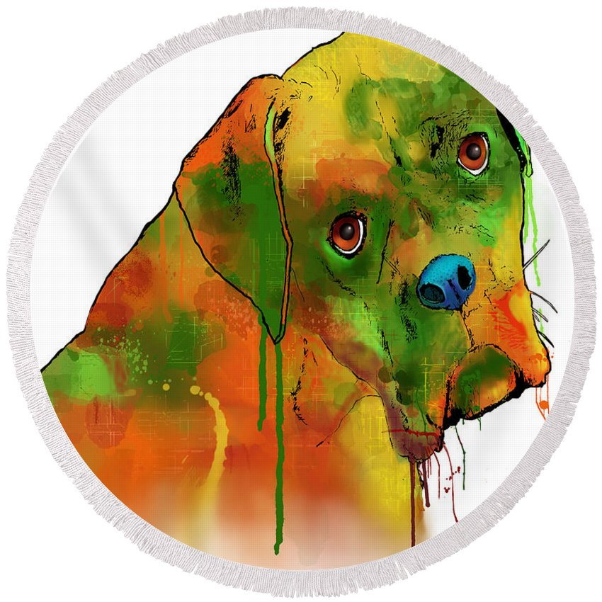 Boxer Round Beach Towel featuring the digital art Boxer by Marlene Watson
