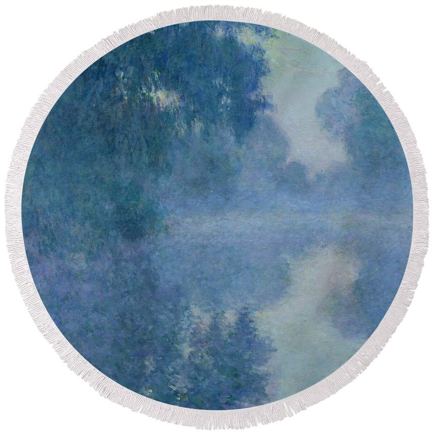 Impressionist; River; Reflection; Fog; Foggy; Misty; Mist; Branch; Seine; Giverny; Claude Monet; Monet; Tree; Trees Round Beach Towel featuring the painting Branch Of The Seine Near Giverny by Claude Monet