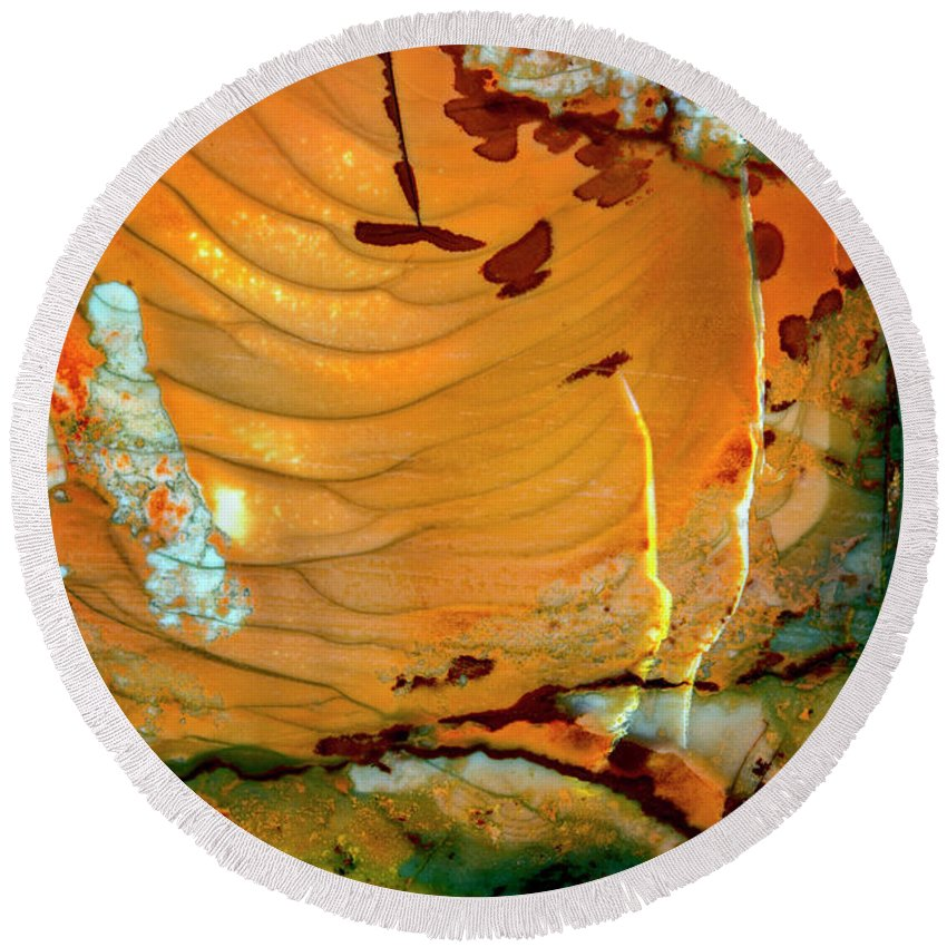 Macro Round Beach Towel featuring the photograph Brecciated Imperial Jasper by Robert Storost
