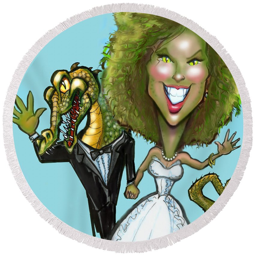 Bridezilla Round Beach Towel featuring the greeting card Bridezilla by Kevin Middleton
