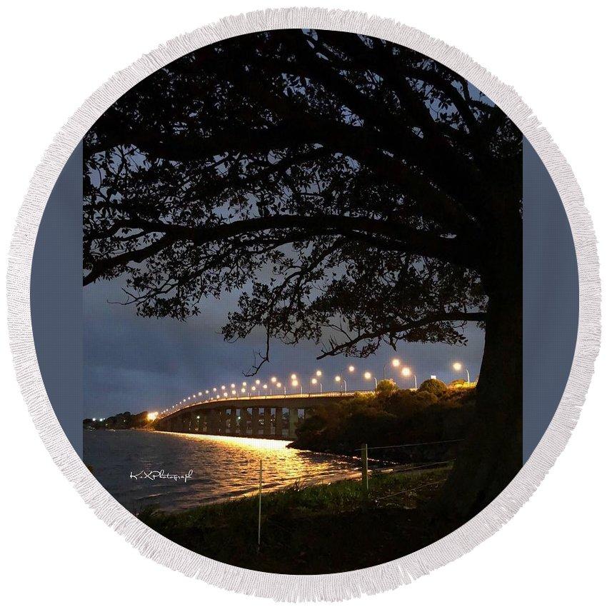 Captain Round Beach Towel featuring the photograph Bridge by Koula Xexenis