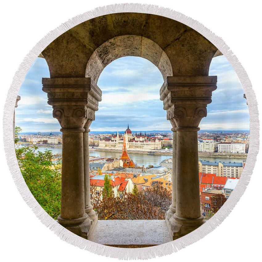 Budapest Round Beach Towel featuring the photograph Budapest - Hungary by Luciano Mortula