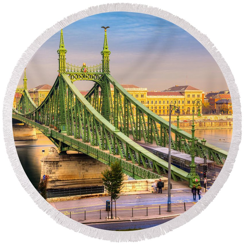 Budapest Round Beach Towel featuring the photograph Budapest - Liberty Bridge - Hungary by Luciano Mortula