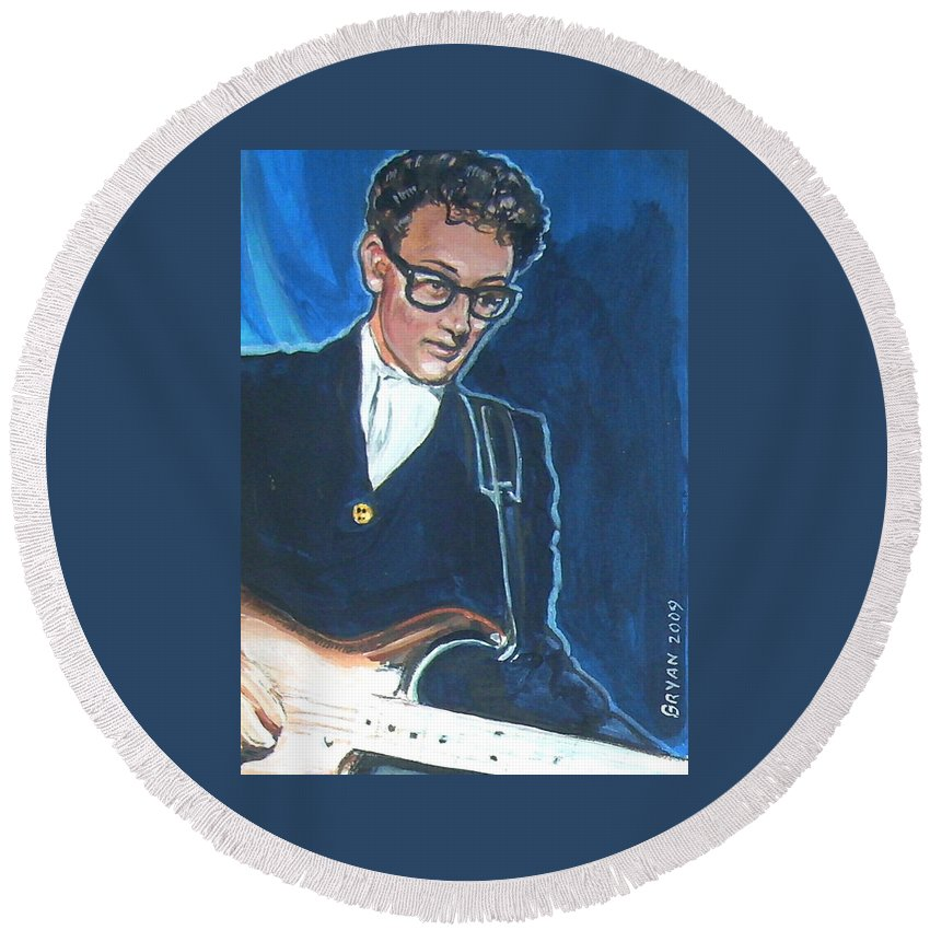 Buddy Holly Round Beach Towel featuring the painting Buddy Holly by Bryan Bustard
