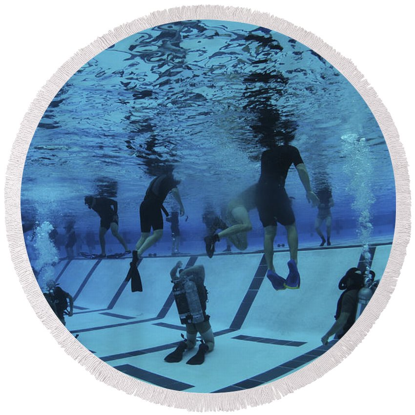 Special Operations Forces Round Beach Towel featuring the photograph Buds Students Participate In Underwater by Stocktrek Images